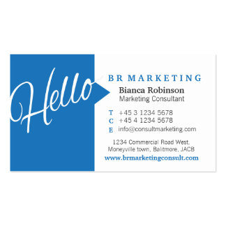 Blue & white hello speech quote business card
