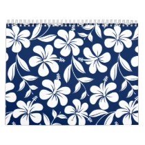 Blue & white hibiscus calendar