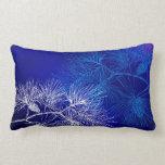 Blue White Holiday Pine Throw Pillow