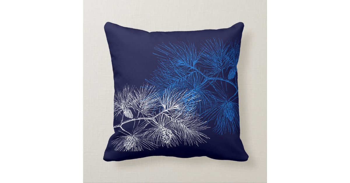 Blue White Throw Pillow : Blue White Holiday Pine Throw Pillow Zazzle