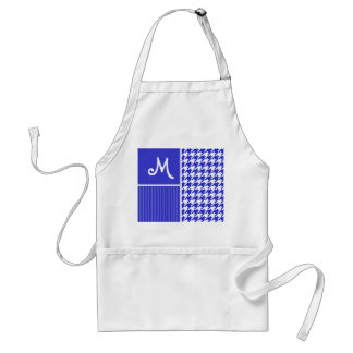 Blue & White Houndstooth Adult Apron