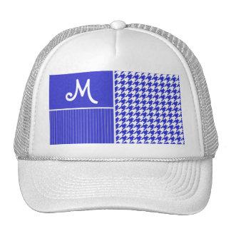 Blue & White Houndstooth Trucker Hat