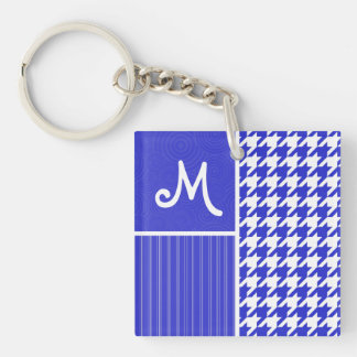 Blue & White Houndstooth Key Chain