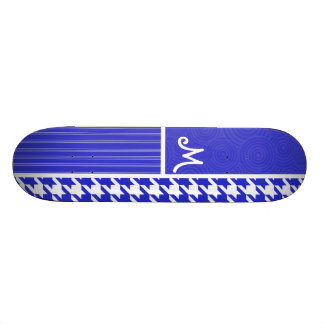 Blue & White Houndstooth Skate Boards