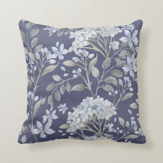 Blue White Hydrangeas Greenery on Blue Gray | Throw Pillow