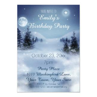 "Blue & White Ice Winter Wonderland Birthday Party 5"" X 7"" Invitation Card"