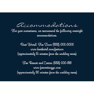 Blue White Insert Reception & Accommodation Cards profilecard