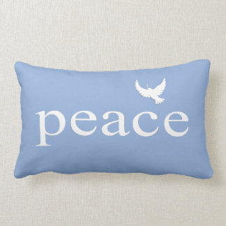 Blue White Inspirational Peace Quote Throw Pillow