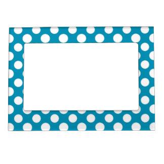Blue, White Jumbo Polka Dot Magnetic Picture Frame