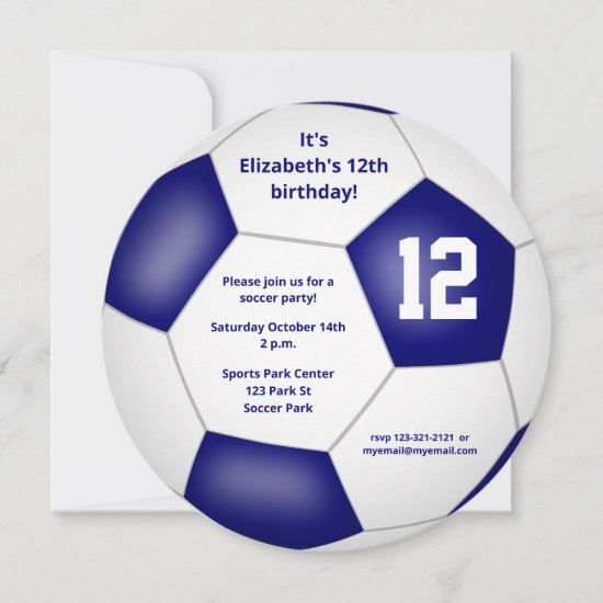 blue white kids soccer themed birthday party announcement
