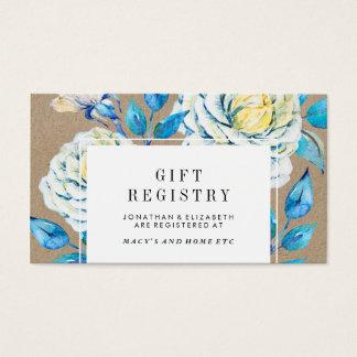 Blue & White Kraft Rose Gift Registry Insert