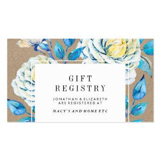 Blue & White Kraft Rose Gift Registry Insert Business Card