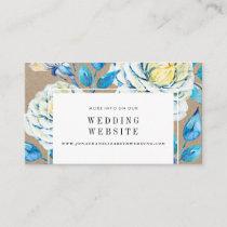 Blue & White Kraft Rose Wedding Website Insert