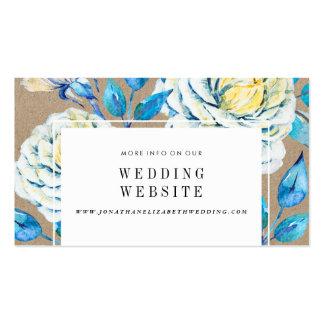 Blue & White Kraft Rose Wedding Website Insert Business Card