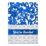 Blue & white lace 5x7 paper invitation card