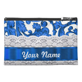 Blue white lace travel accessory bag