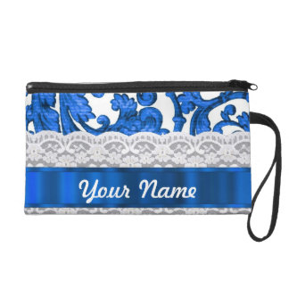 Blue white lace wristlet
