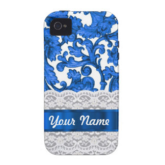 Blue & white lace case for the iPhone 4