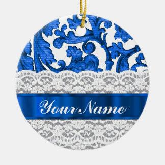 Blue & white lace ceramic ornament