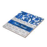 Blue & white lace ceramic tile