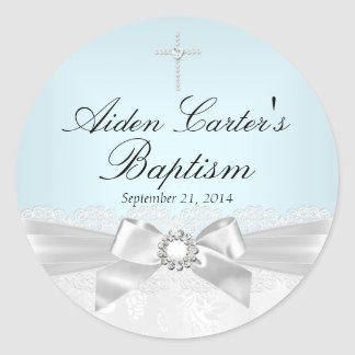 Blue White Lace & Cross Baptism Sticker