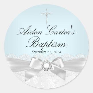Blue White Lace & Cross Baptism Sticker