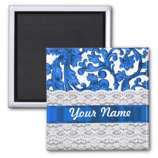 Blue & white lace magnet