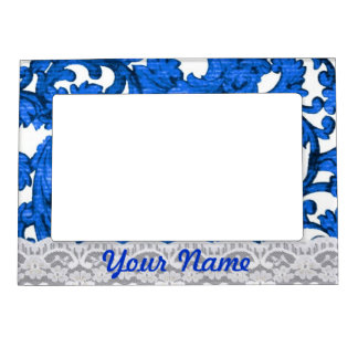 Blue & white lace magnetic photo frame