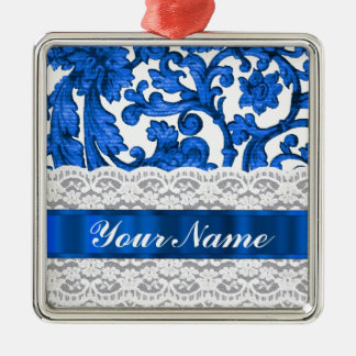 Blue & white lace metal ornament
