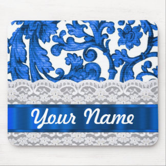 Blue white lace mouse pads