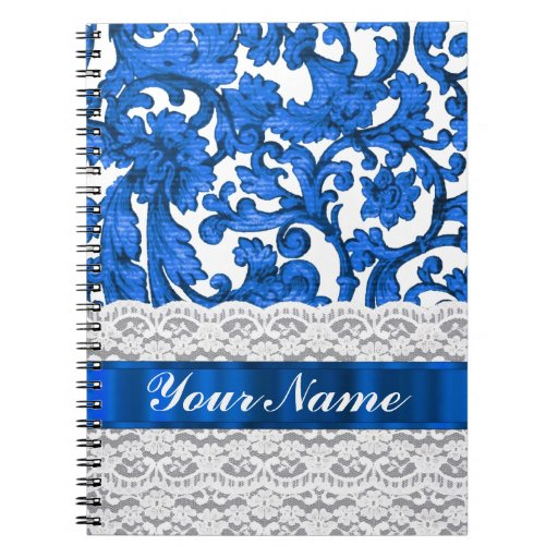 Blue & white lace note book