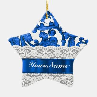 Blue & white lace ornaments
