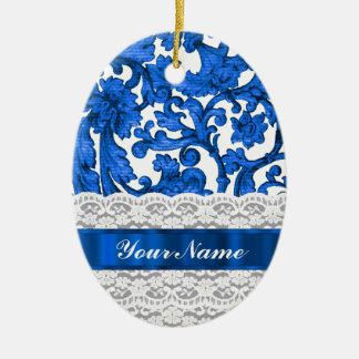 Blue & white lace christmas ornaments