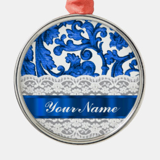 Blue & white lace christmas tree ornament