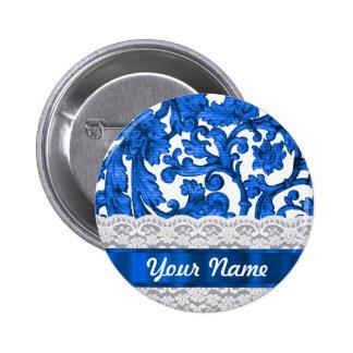 Blue & white lace pinback button