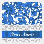 Blue & white lace square sticker