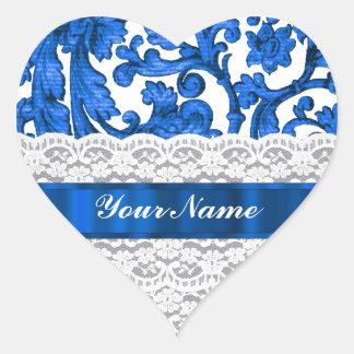 Blue & white lace sticker