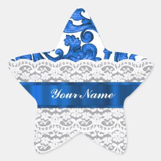 Blue & white lace star sticker