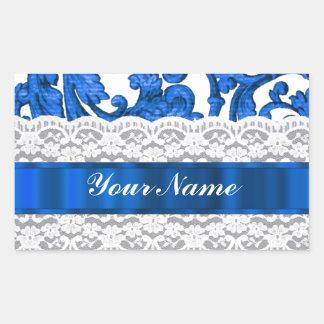 Blue & white lace rectangular sticker