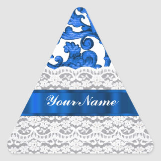 Blue & white lace triangle stickers