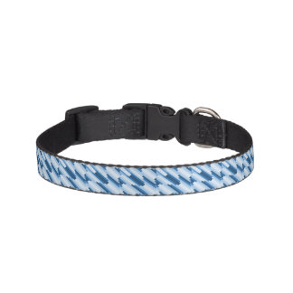 Blue White Lines Pattern Pet Collar
