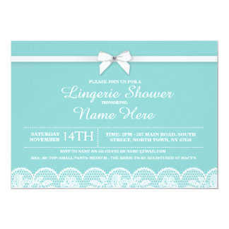 Blue White Lingerie Bridal Shower Lace Invitation
