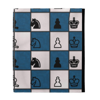 Blue & White Marbled Chess Board & Pieces iPad Folio Covers