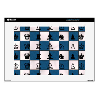 """Blue & White Marbled Chess Board & Pieces Decal For 15"""" Laptop"""