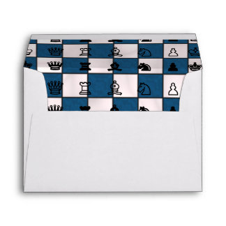 Blue & White Marbled Chess Board & Pieces Envelope