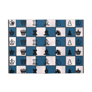Blue & White Marbled Chess Board & Pieces iPad Mini Cover