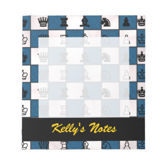 Blue & White Marbled Chess Board & Pieces Note Pad