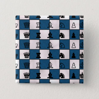 Blue & White Marbled Chess Board & Pieces Pinback Button