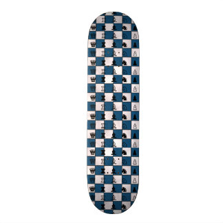Blue & White Marbled Chess Board & Pieces Skate Deck