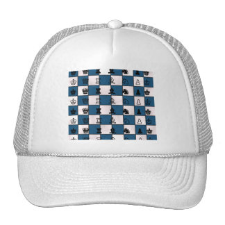 Blue & White Marbled Chess Board & Pieces Trucker Hat